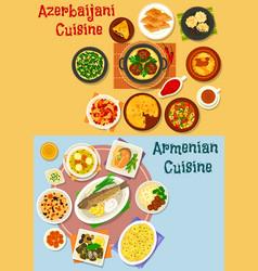 Armenian and azerbaijani cuisine icon set design vector