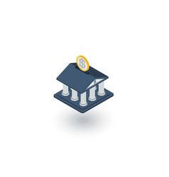 Bank building finance money savings isometric vector