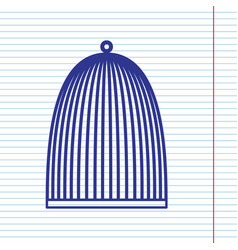 Bird cage sign navy line icon on notebook vector