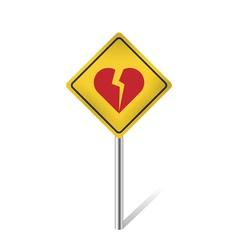 Broken heart traffic sign vector