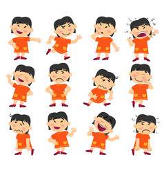 Cartoon character asian girl set with different po vector