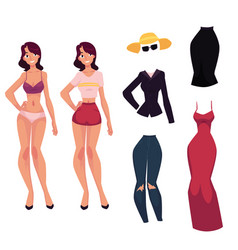 cartoon woman girl and her fashionable clothes vector image vector image