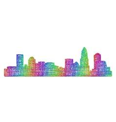 Charlotte skyline silhouette - multicolor line art vector image