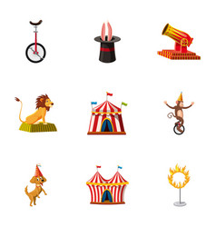 circus show icons set cartoon style vector image vector image