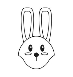 cute easter face bunny thin line vector image