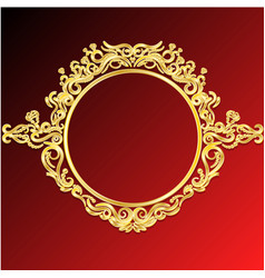 decorative frame retro gold frame on red vector image vector image