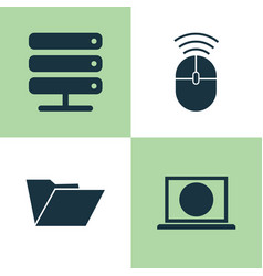 Device icons set collection of dossier web vector