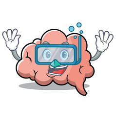 diving brain character cartoon mascot vector image