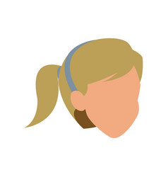 Face woman head blonde ponytail vector