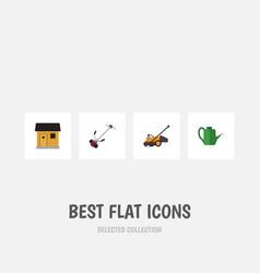 Flat icon farm set of bailer stabling grass vector