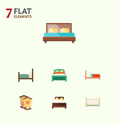 Flat mattress set of furniture mattress bed and vector