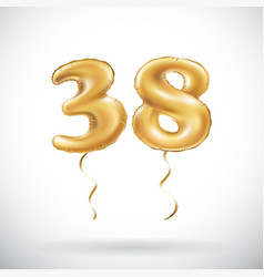 Golden number 38 thirty eight metallic balloon vector