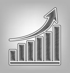 Growing graph sign pencil sketch vector
