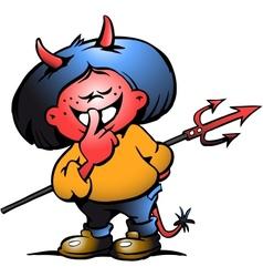 Hand-drawn of an cute devil girl vector