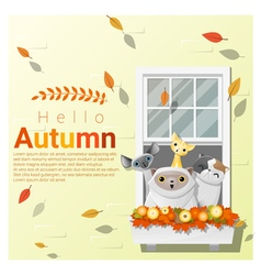 Hello autumn background with cats vector