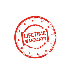Lifetime warranty stamp grunge sign or badge icon vector