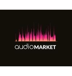 Logo template sound wave studio music dj audio vector