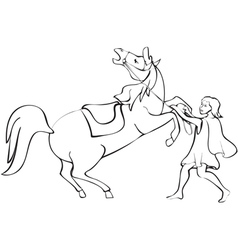 man tames the horse vector image