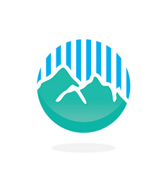 Mountain with blue line logo vector