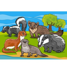 Mustelids animals cartoon vector