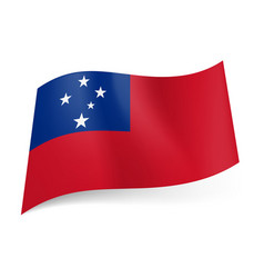 National flag of samoa red background and blue vector