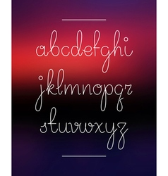 Neon hand lettering drawn font alphabet vector image