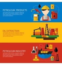Oil industry banner flat set vector
