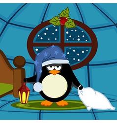 Penguin goes to sleep vector