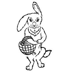 rabbit basket vector image vector image