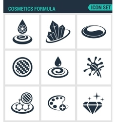 Set of modern icons Cosmetics formula vector image