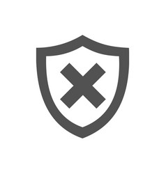 unprotected shield icon on a white background vector image vector image