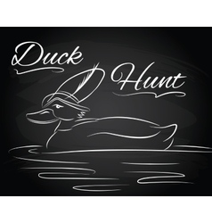 With duck in the hunter hat vector