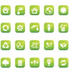 green icons environmental glossy vector image