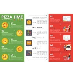 Pizza time infographic elements flat concept web vector