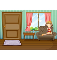 A woman sitting inside the house vector