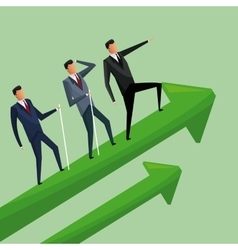 Business men climbing growth arrows cooperation vector