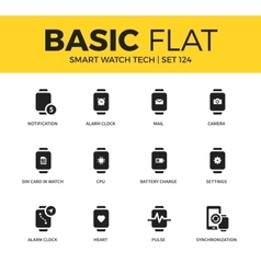 Basic set of Smart watch tech icons vector image
