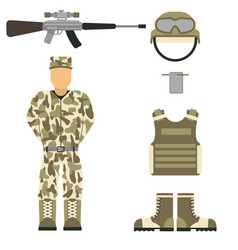 Military character weapon guns symbols armor man vector