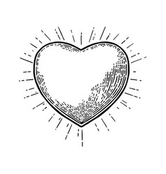 Heart with rays black vintage engraving vector