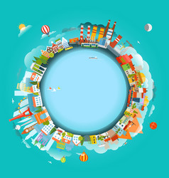 The earth and different locations travel concept vector