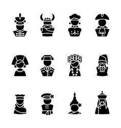 twelve human black silhouette icons isolated on wh vector image