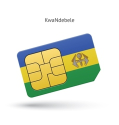 Kwandebele mobile phone sim card with flag vector
