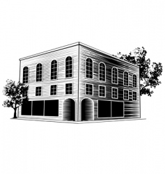 woodcut building vector image
