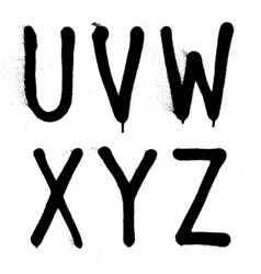 Hand written graffiti font type alphabet part 4 vector