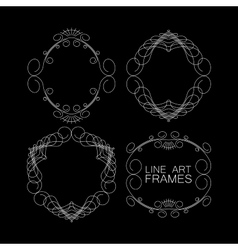 Set of floral monogram frames line art vector