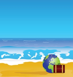Beach and sea paradise color vector