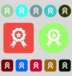 Award medal of honor icon sign 12 colored buttons vector