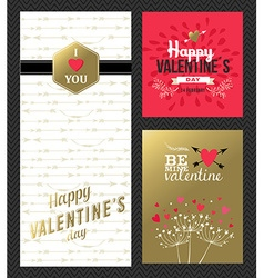 Valentines day retro greeting card set gold pink vector