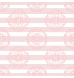Baby pink mandala subtle striped seamless pattern vector image