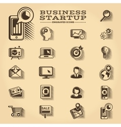 Business and startup engraved icons set vector